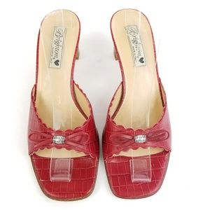 Brighton Red Scalloped Sandal Croc Bow Slide Mules
